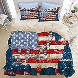 ELIENONO Bettwäsche-Set Einzelbetten,3D-Bedruckt,Weinlese US-Karten-Weg 66 Retro Verkehrsschild der amerikanischen Flagge,mit Reißverschluss,1 Bettwäsche 135x200cm und 2 mal 50 x 80cm Kissenbezug