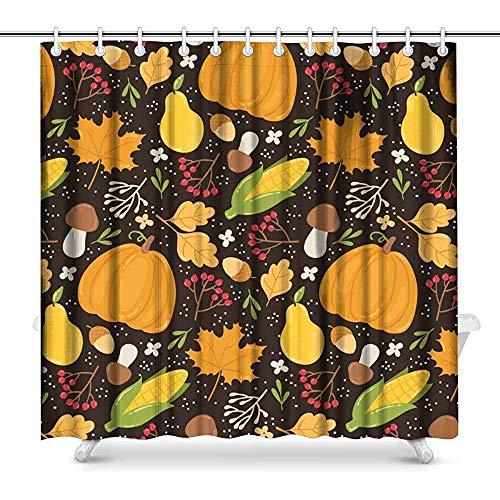 Duschvorhang Herbst Muster mit Beeren, Blätter, Obst, Gemüse & Pilze Stoff Bad Vorhang Dekor Set mit Haken lang