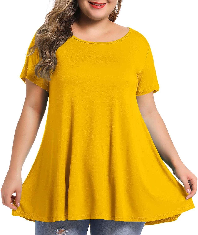 Max 53% OFF BELAROI Women's Short Sleeve Tunic Washington Mall Tops T Shirt Blouse Plus Size