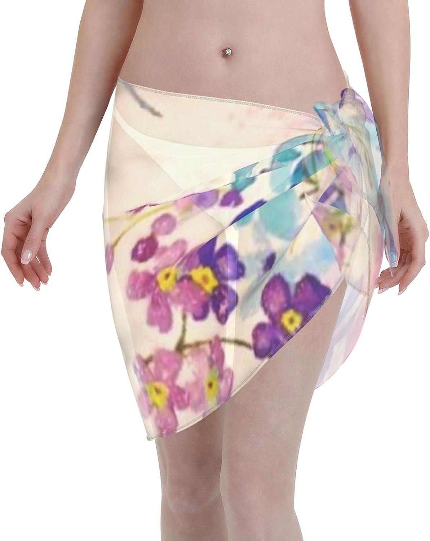 Women Short Sarongs Beach Wrap,Beach Wrap Sheer Bikini Wraps Chiffon Cover UpsWatercolor Floral Butterfly Garden Glitter Beach Wrap Sheer Bikini Wraps Chiffon Cover Ups