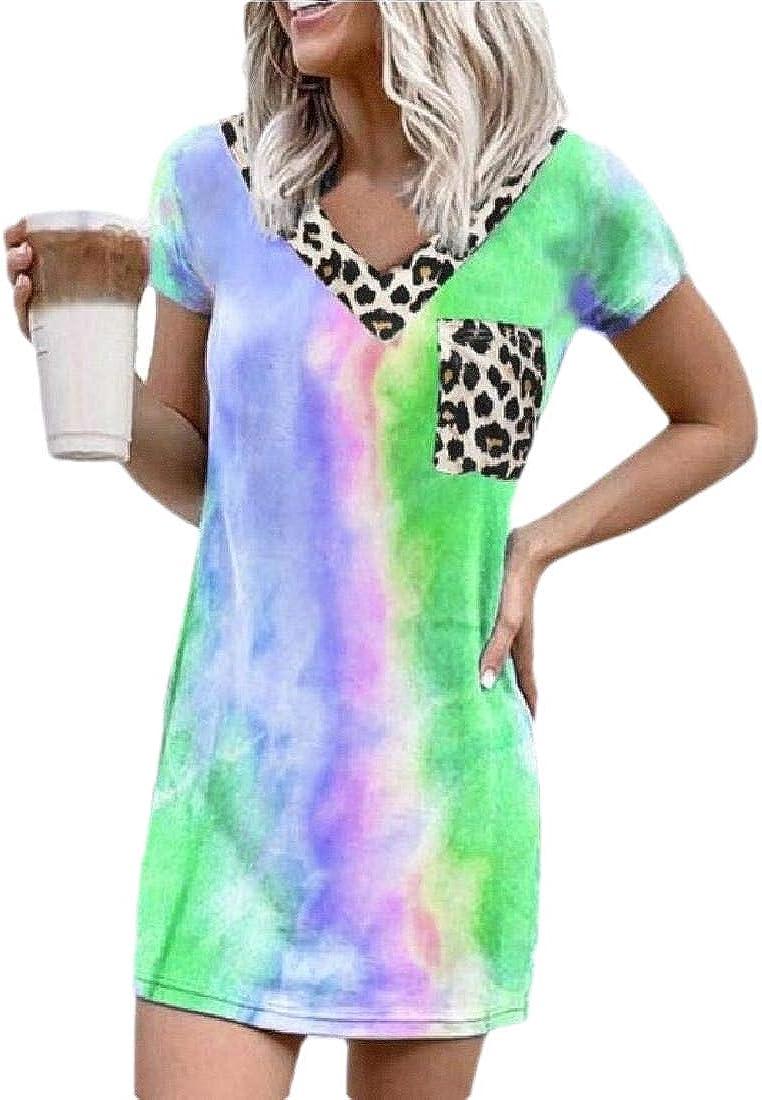 Keaac Womens Colorful Tie Dye V Neck Leopard Splicing Pocket Patchwork Short Sleeve Dress