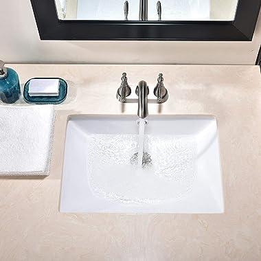 Friho 18.5''x13.8''x7.9'' Modern Sleek Rectangular Undermount Vanity Sink Porcelain Ceramic Lavatory