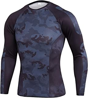 Men's Camo Black Long Sleeve Gym Workout T Shirt Crewneck