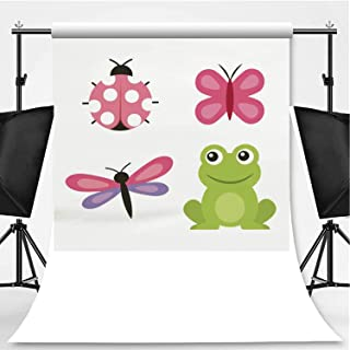 Cute Frog Dragonfly Butterfly Ladybug Photography Background,110569 for Television,Pictorial Cloth:5x7ft