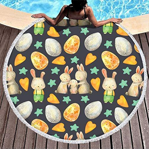 Toalla de playa redonda con bonito conejo, familia, conejo, manta de pícnic, toalla de playa, toalla de rizo, toalla de playa, ligera con borla, para mujeres y niños, color blanco, 150 cm