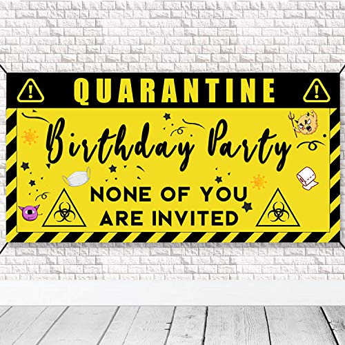 Quarantine Birthday Decorations Banner Poster - 3.3 x 5.8ft Social Distancing Theme Banner Stay Home Backdrop Decorations, Birthday Party Idea Sign Supplies