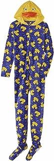 Womens Blue Fleece Yellow Duck Footie Pajama Blanket Sleeper Onesie