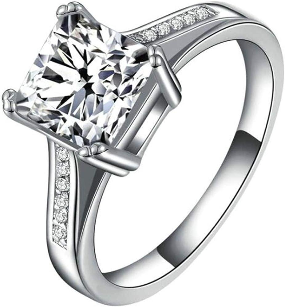 Jude Jewelers Stainless Steel 4 Carat Princess Cut Wedding Engagement Halo Bridal Proposal Ring