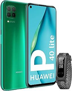 """HUAWEI P40 Lite - Smartphone con pantalla de 6.4"""" FullView (Kirin 810, 6 GB de RAM,128 GB de ROM, 48MP, Cuádruple cámara, Batería de 4200mAh) Verde + Band 4e Gris Sin servicios de Google preinstalados"""