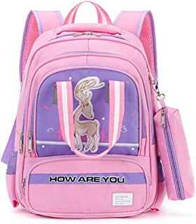 6-12 Year Old Children Large Capacity Schoolbag, Fashion Cute Cartoon Pattern Reduce Burden Backpack, Boys Girls Waterproof Nylon Schoolbag with Pencil Box,A