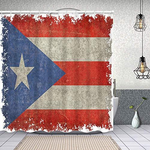Cortina Baño,Bandera de Puerto Rico Envejecida Vintage,Cortina de Ducha Tela de Poliéster Resistente Al Agua Cortinas de Ducha Baño con 12 Ganchos,150x180cm