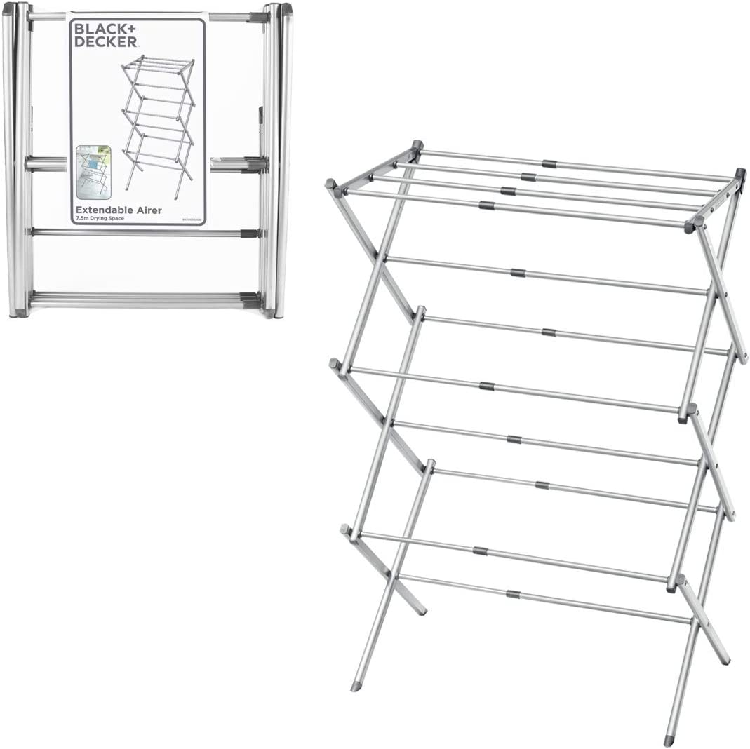Over item handling ☆ BLACK+DECKER BXAR0002GB Extendable Compact Clothes G Airer Atlanta Mall Cool