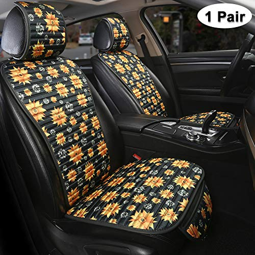 GIANT PANDA Sunflower Front Seat Covers Protectors, Printed Fabric Car Seat Covers for Women Lady, Universal Fit for Cars SUV (1 Pair)