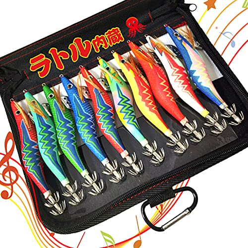 エギ エギング イカ釣り ルアー 10本セット 3.0号 ラトル内蔵 爆釣り 釣具 針先蓄光 全身夜光 ボンバーフック ケース付
