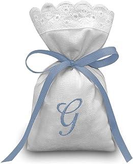 Crociedelizie, Stock 25 sacchetti ricamo iniziale nome bomboniere portaconfetti bimbo bimba nascita battesimo