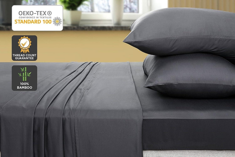 Ovela 400TC 100% Bamboo Bed Sheet Set (Queen, Charcoal)