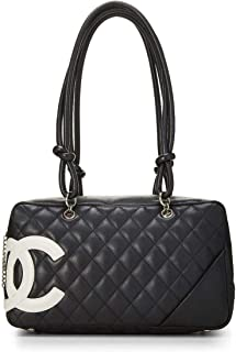 23ef5024a205b8 CHANEL Black Quilted Calfskin Cambon Ligne Bowler (Pre-Owned)