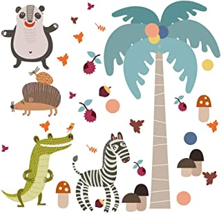 Anuom Jungle Animal Wall Decal Pack of Colorful Stickers for Baby Nursery Playroom - Peel & Stick Unisex Safari Theme Kids Wall (Yellow)