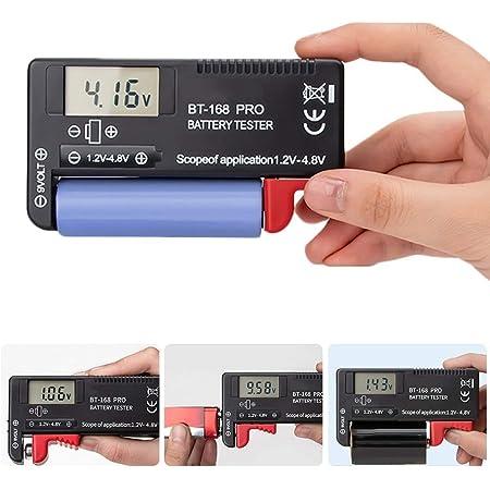 Probador de Batería Probador De Pilas Digital Universal Comprobador de Capacidad de la Batería para Pilas AA AAA C D 9V 1.5V Pilas de Botón11.1*6.05*2.6cm (BT-168 PRO)