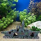 Weiyiroty Adorno de Barco de Piel de camarón de Agua Salada no tóxico Fresco de Larga duración, decoración de Acuario de Resina, para pecera
