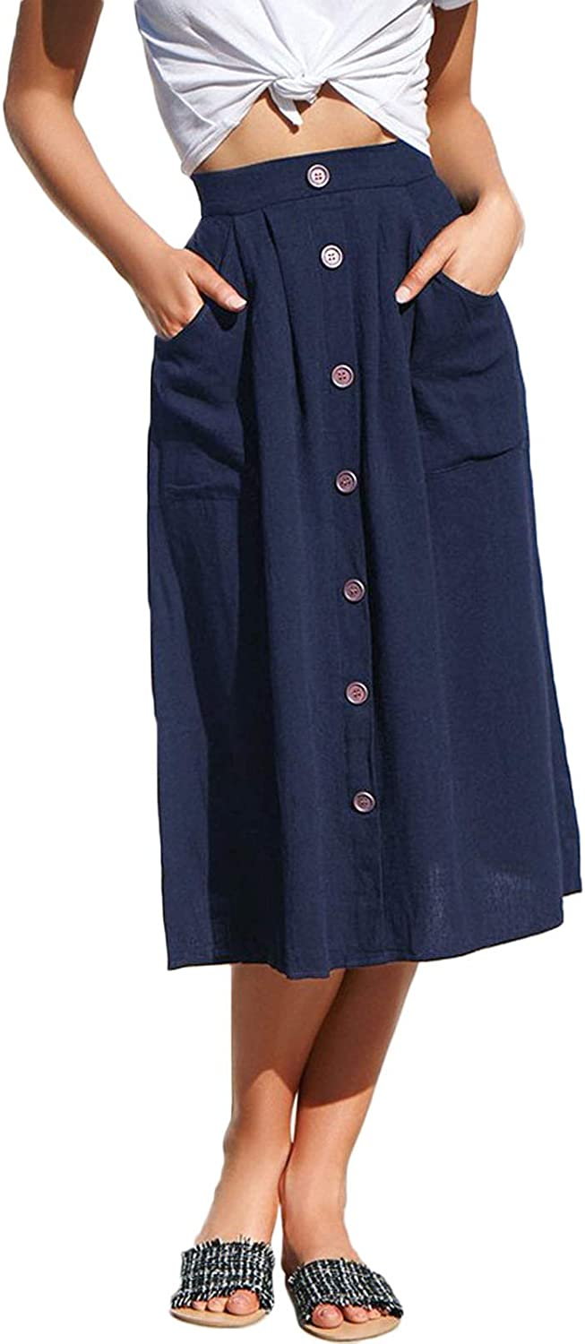 Flygo Women's Casual High Waisted A Line Button Front Midi Skirt with Pockets