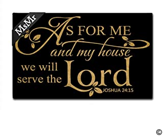 MsMr Doormat Entrance Floor Mat Funny Door Mat As for Me and My House We Will Serve The Lord Non-Slip Doormat Machine Washable Non-Woven Fabric Top 18