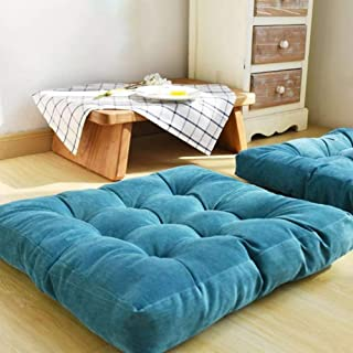 EGOBUY Solid Square Floor Pillow Tufted Thicken Chair Pad Tatami Corduroy Seat Cushion, 22x22 Inch, Blue