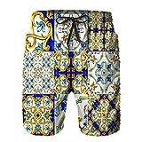 Benle Pantaloncini da Surf da Uomo,Ornamento su maioliche Italiane Ciano,Costume da Bagno con Fodera in Rete ad Asciugatura Rapida M