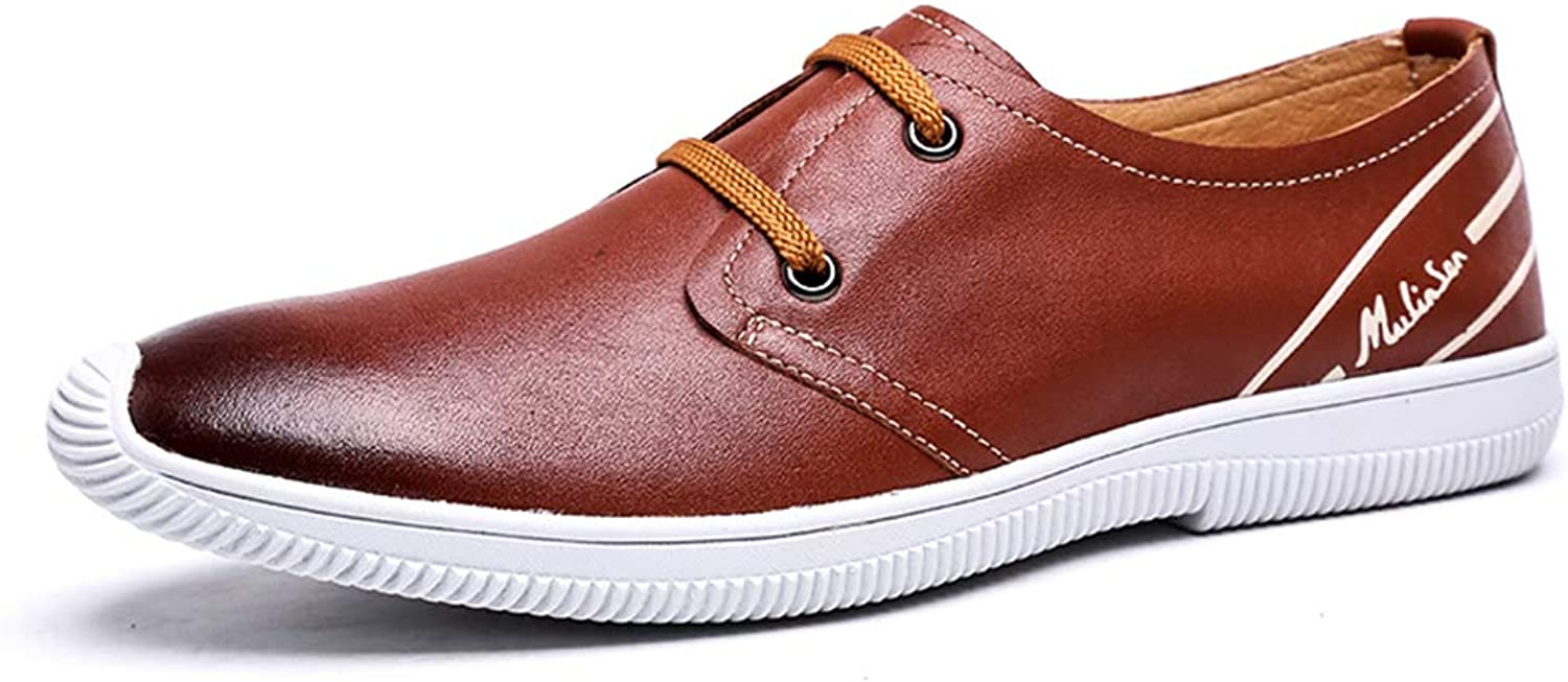 LXLA- Men's Comfortable Casual Lace Up Leather shoes, Mens Plain Toe Round Head Loafers for Men (color   Brown, Size   44)