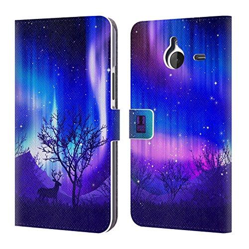 Head Case Designs Wäldchen Purpur Nordlichter Leder Brieftaschen Huelle kompatibel mit Microsoft Lumia 640 XL/Dual SIM