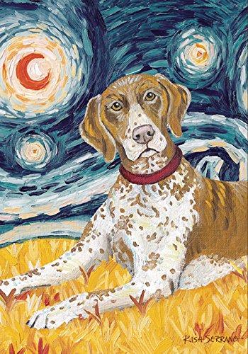 Toland Home Garden Van Growl German Shorthaired Pointer 12.5 x 18 Inch Puppy Dog Portrait Starry Night Garden Flag