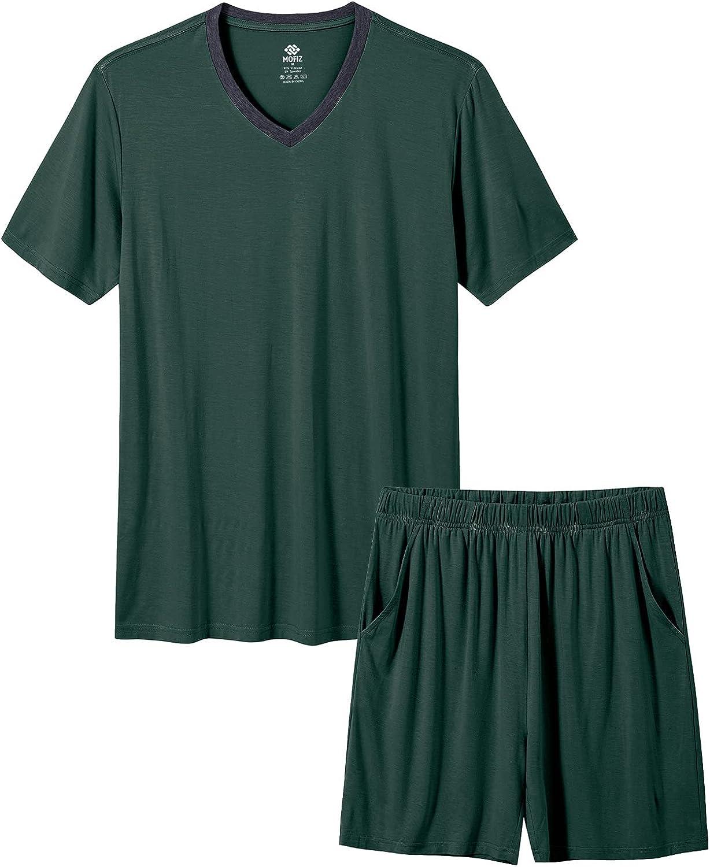 MoFiz Mens Pajama Sets Short Sleeve Pyjama Sleepwear Lounge Pajama Shorts Comfortable Lightweight PJS Sleep Sets