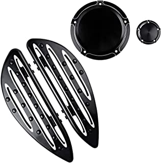 Black Floorboards and Combo Edge Cutting 5-Hole Derby Timing Timer Cover Compatible with 2012 2013 Dyna FLD Switchback