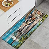 Alfombra de Cocina, Cinque Terre Coastal Harbour Pier Paisaje turístico de la Ciudad Costera, Impermeable, Antideslizante, Suave, Lavable, Alfombrilla de Cocina, alfombras Confortables