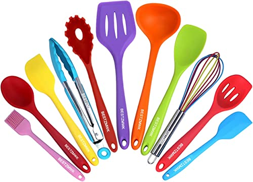 wholesale Kitchen Utensil 2021 Set - 11 Cooking Utensils - Colorful Silicone Kitchen Utensils - Nonstick Cookware with Spatula Set - outlet sale Colored Best Kitchen Tools Kitchen Gadgets sale