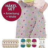 myboshi Häkel-Set Babydecke mit Pünktchen 64cm x 67cm: 8 x Wolle Lieblingsfarben No.2 + Häkelanleitung + Häkelnadel + Selfmade Label Wollfarben (Elfenbein Limettengrün Magenta Türkis)