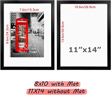 11x14 Picture Frame Set of 9, Black Frames for Photos 8x10 with Mat or 11x14 Without Mat, Table Top and Wall Mounting Decor