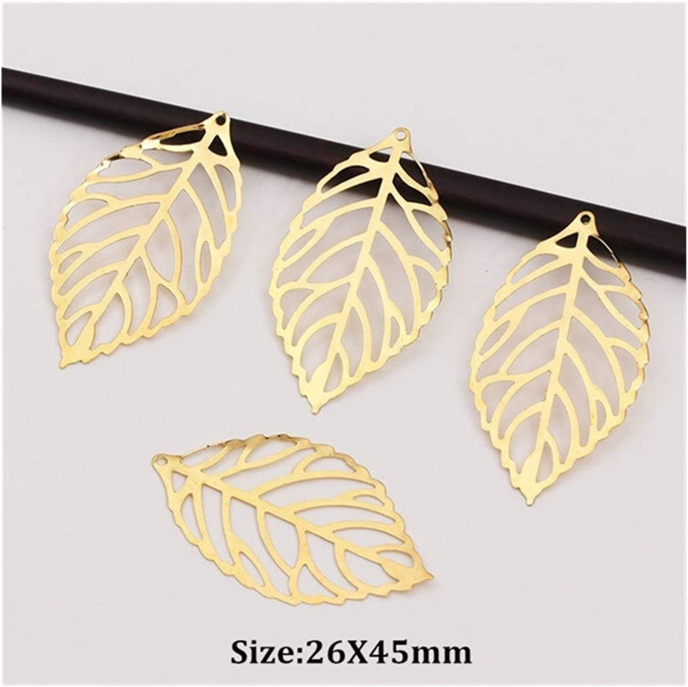 Rjjrr 50pcs Craft Hollow online shopping 5% OFF Leaves Jewelry Pendant Gold Accessories