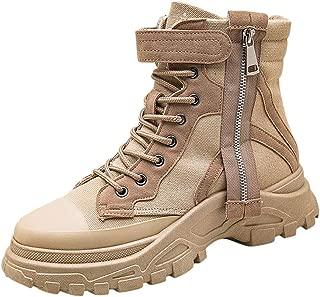 Shoes for Men, Sneakers Tooling Short Boots Walking Shoes Men Leather Platform Heels Slip High-Top Slip Vintage Black Casual Waterproof for Trekking FULLSUNNY