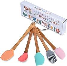 5 Piece Silicone Spatula,Mini Rubber Spatula Wooden Handle,Heat Resistant Silicone Spatula Set,Kitchen Utensils Non-Stick ...