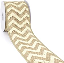 CT CRAFT LLC Natural Burlap with Ivory Chevron Wired Ribbon - 2.5 inch x 5 Yards.