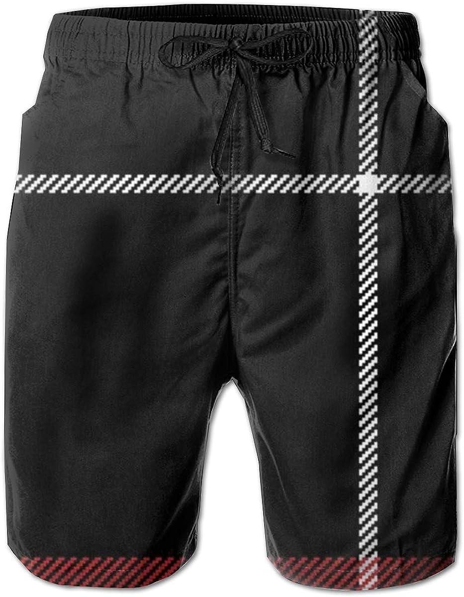 Black Red White Check Plaid Beauty Fashion Mens Beach Pants 3D Printed Casual Fashion Adjustable Beach Board Shorts