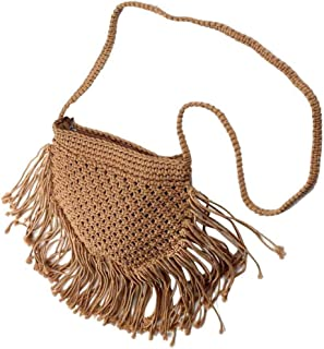 TOOGOO Hand-Woven Cotton Thread Handbag with Retro Straw Bag and Woven Cotton Beach Bag for Women, Havana