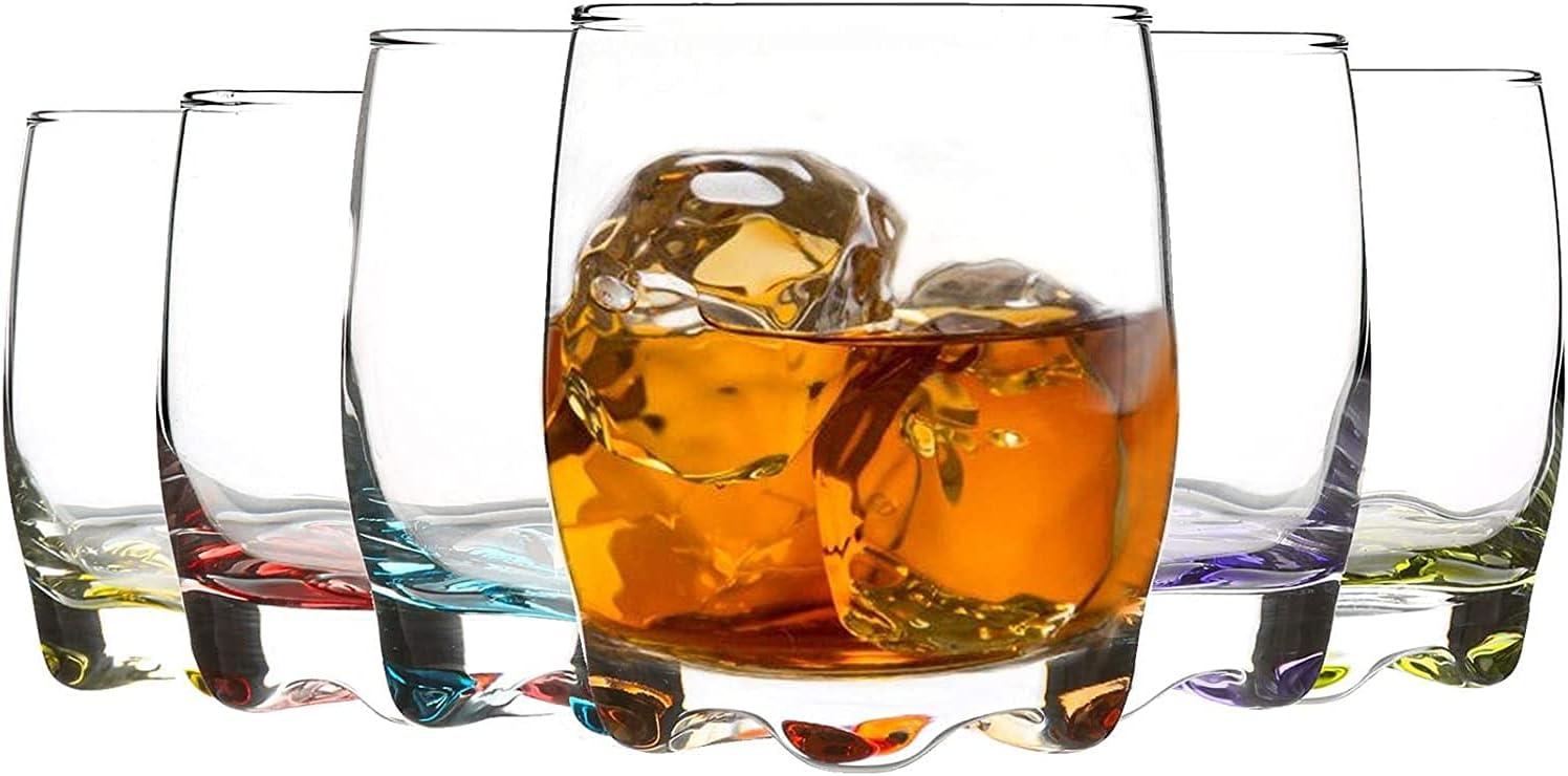 Unishop Set de 6 Vasos de Agua y Whisky Colores, Vasos de Cristal Multicolor, Aptos para Lavavajillas