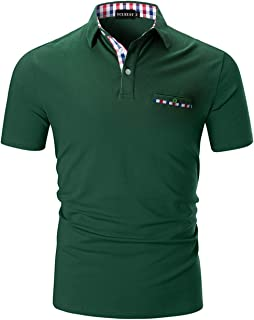 YCUEUST Polo Hombre Manga Corta Camisetas Deporte Clásico Plaid Cuello T-Shirt