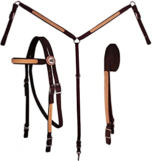 Tahoe Tack Basket Weave Leather Overlay Nylon Headstall, Breast Collar, and Reins Set