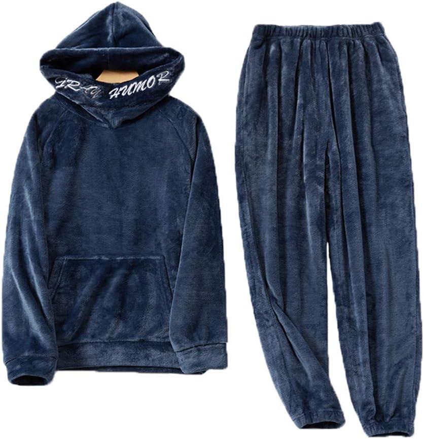 Men Winter Hooded Hedging Coral Fleece Pajama Set,Thicken Warm Long Sleeve Trousers Two-Piece Casual Comfortable Loungewear Sleepwear Suit,Navy Blue,XL