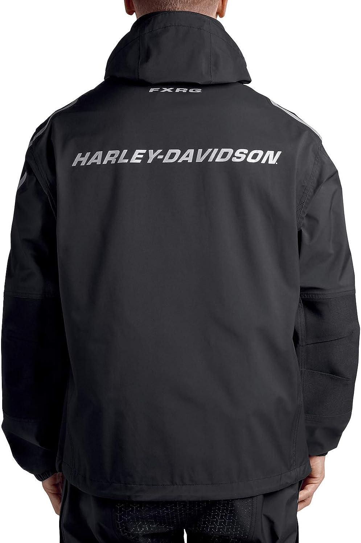 Harley-Davidson Mens FXRG Waterproof Reflective Black Rain Jacket - 98102-19VM