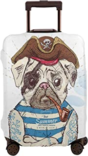 Travel Luggage Cover,Pirate Pug Conqueror Of The Seas Pipe Skulls And Bones Hat Striped Sleeveless T-Shirt Suitcase Protector