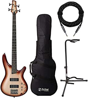 Ibanez SR300E 4-String Electric Bass Guitar Bundled with Gig Bag, Knox Cable and Stand (4 Items)